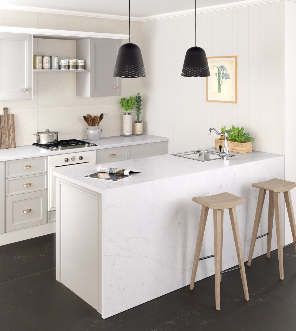 Image of silestone kitchen eternal statuario 3 2 in Compact kitchens: Who says they're a disadvantage? - Cosentino