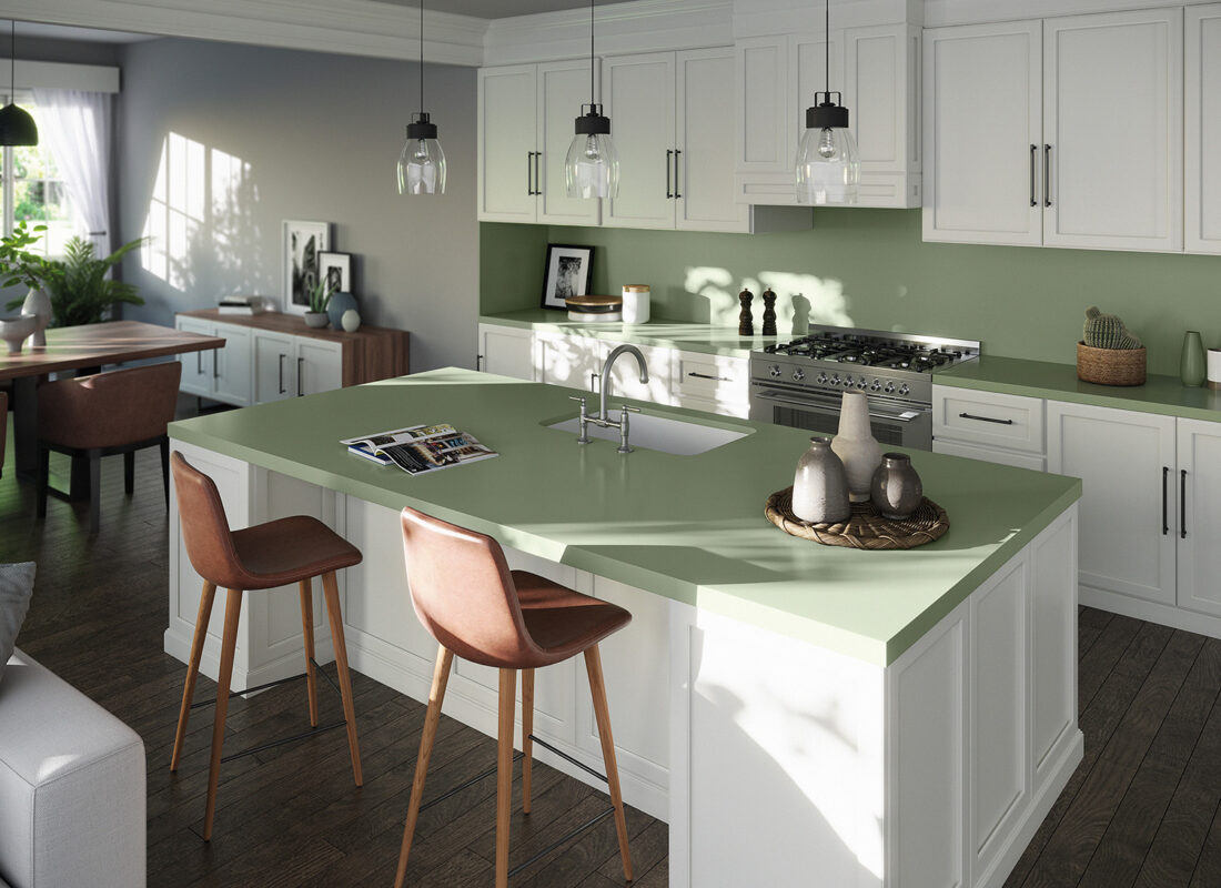 Image of Silestone Sunlit Days Posidonia Green kitchen web in Sunlit Days by Silestone® is here - Cosentino