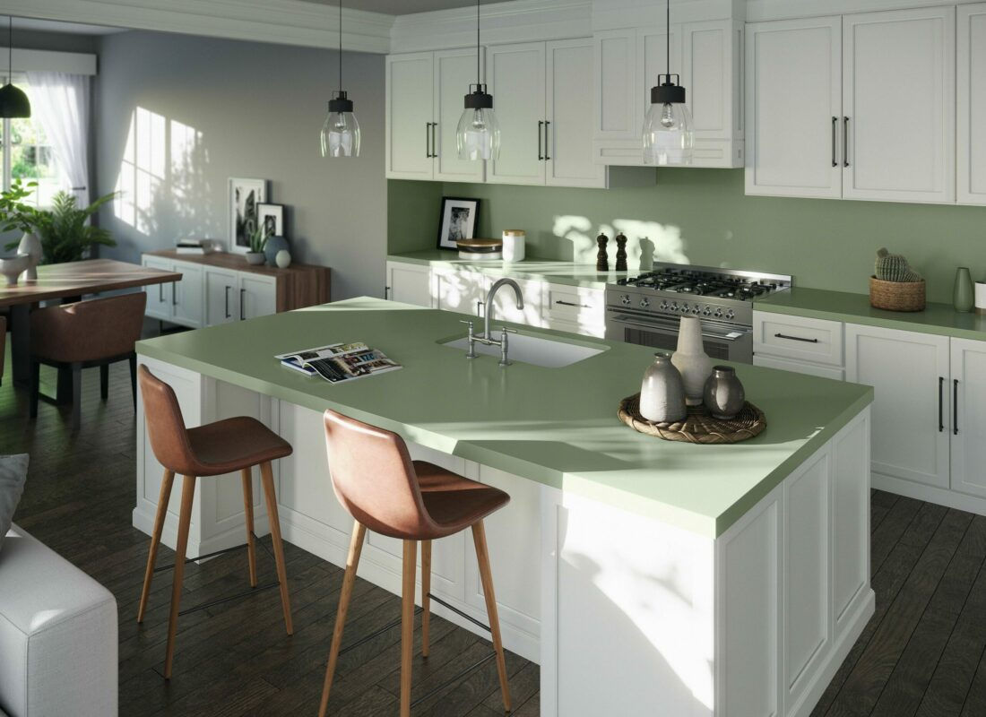 Image of Silestone Sunlit Days Posidonia Green kitchen scaled in Cosentino, winner of the Spanish National Innovation Award 2021 - Cosentino